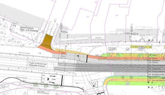 In der Beschlussausfertigung des Stadtrates sah die Planung noch vor, den Radweg über die Alaunstraße hinaus zu führen. Daraus wird nun erstmal nichts.