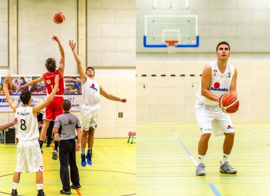 Basketballer in der Halle der Dreikönigschule