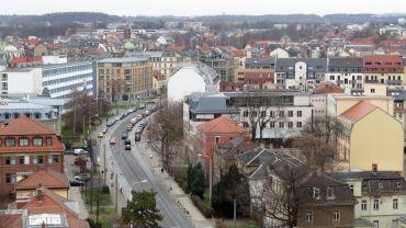 Königsbrücker Straße vom Hochhaus aus gesehen