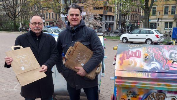 Stadtbezirksamtsleiter André Barth und Agentur-Chef Tobias Blaurock