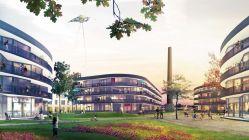 Die Bauten mit den geschwungenen Fassaden sind eine Idee von Barcode Architetcs/Lola Landscape Architects aus Rotterdam. Visualisierung: Barcode Architetcs/Lola Landscape Architects