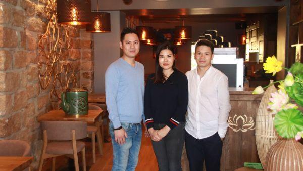 Chefkoch Vu Le Khanh, Mitarbeiterin Ha Thi Hanh und Geschäftsführer Ta Duy