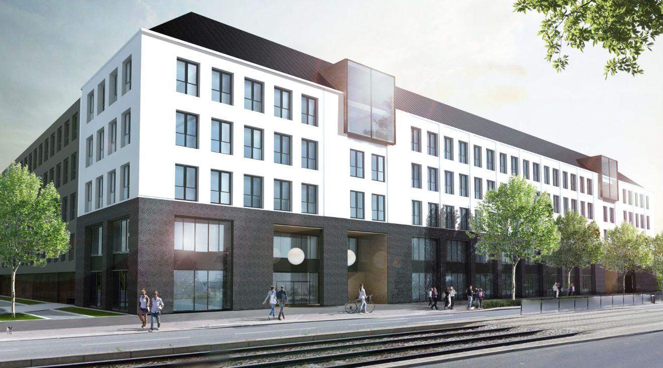 So soll der Neubau an der Großenhainer Straße nahe dem Bahnhof Neustadt aussehen. © KPE Projektentwicklung GmbH & Co. KG