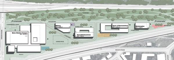 Die Projektstudie zeigt klare Vorstellungen von der Nutzung des Geländes. Visualisierung: Ipro Consult