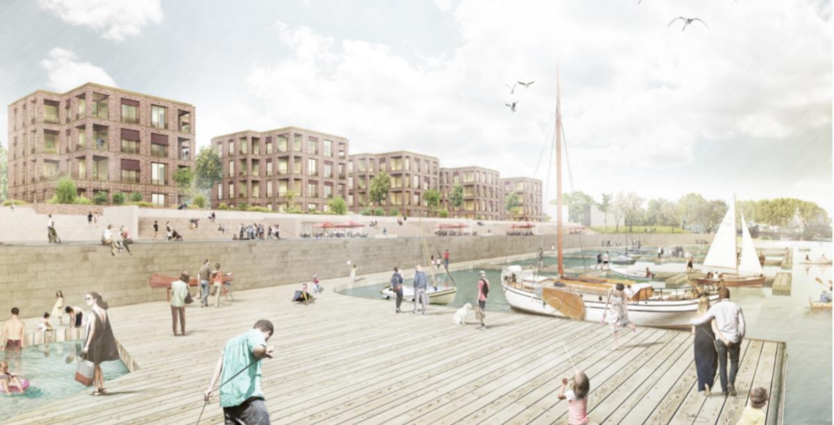 uch das Hafengelände unterhalb der fünf Punkthäuser kann jetzt geplant werden. Quelle: rohdecan