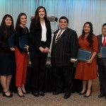 Las Vegas Latino Bar Association Board of Directors members Claudia Aguayo and Romeo Perez, center, are pictured with nine of 17 recipients of their 2019 ¡Andale! Scholarship. The scholarship can be used to cover LSAT preparation course and exam fees.