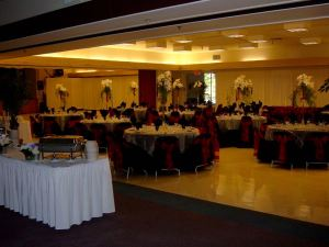 Wedding reception in Nevada City Elks Lodge, area was partitioned off to accommodate diners, dancing