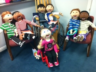 7 PACER puppets with different disabilities