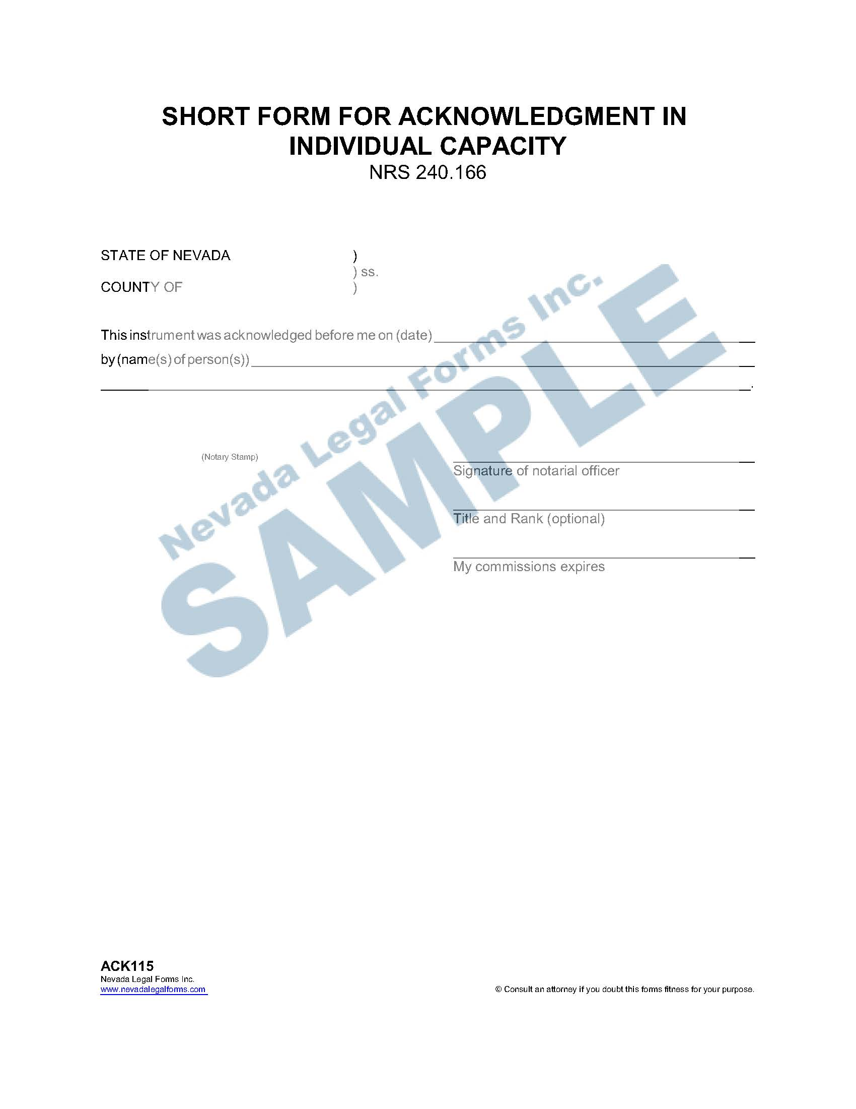 Short Form For Acknowledgment In Individual Capacity