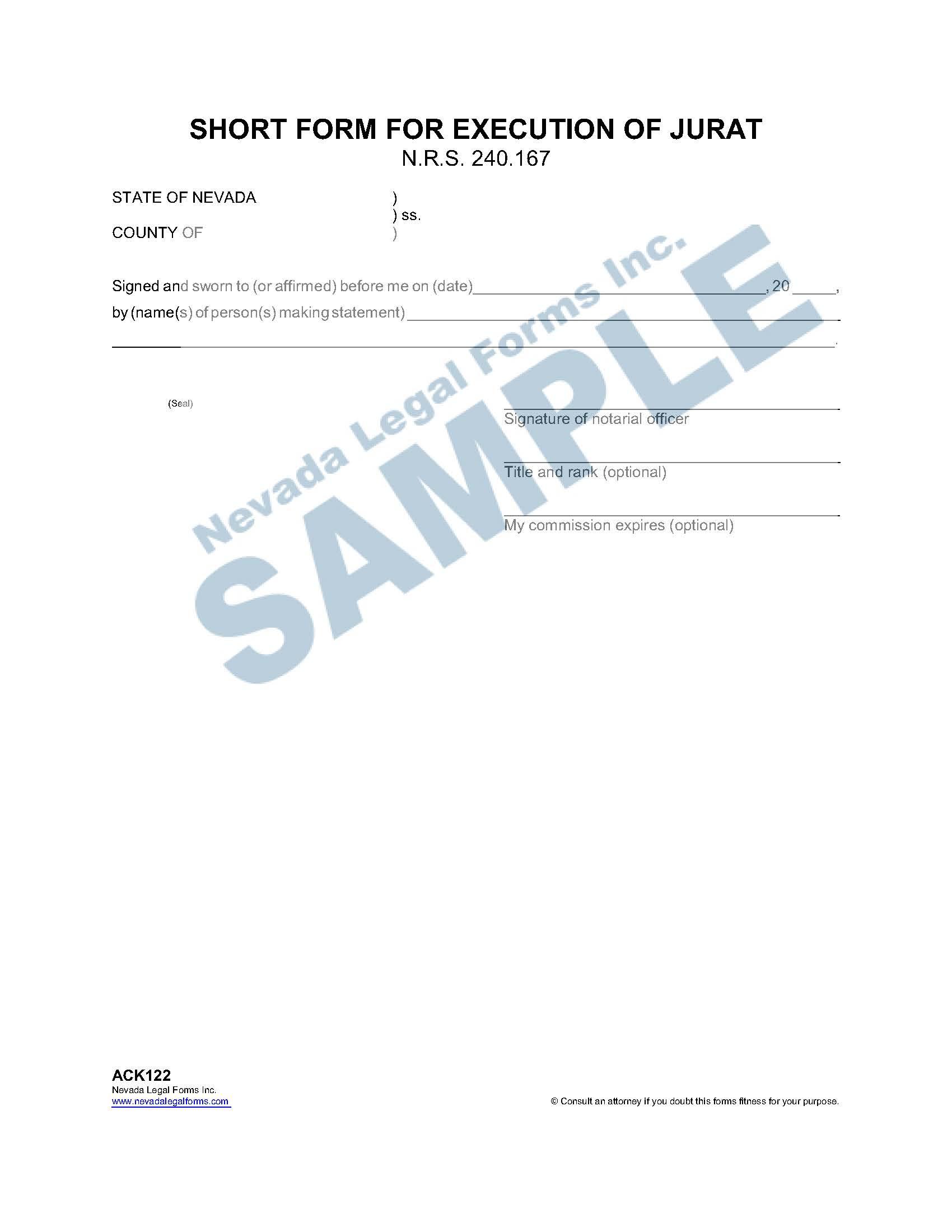 Short Form For Execution Of Jurat