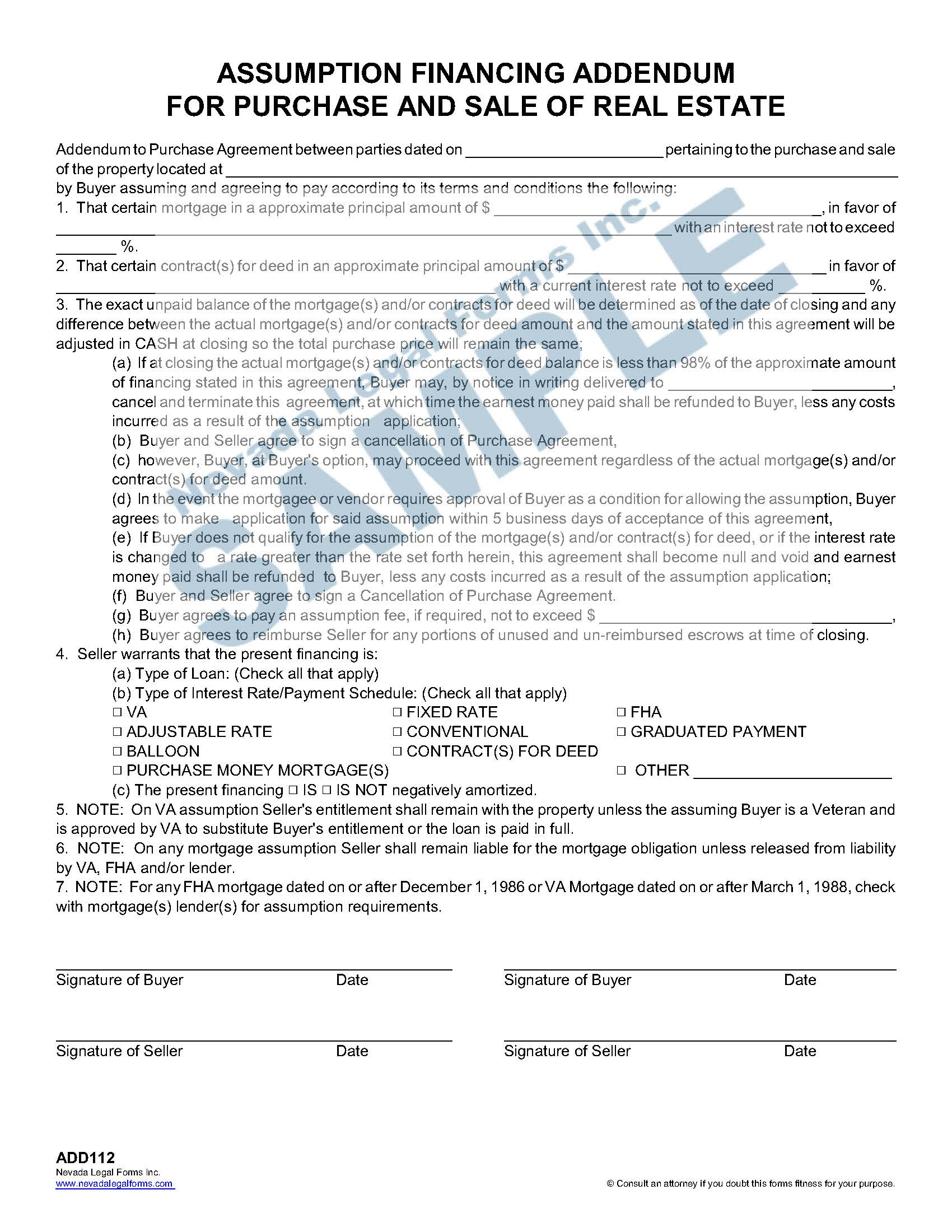 Assumption Financing Addendum For Purchase And Sale Of
