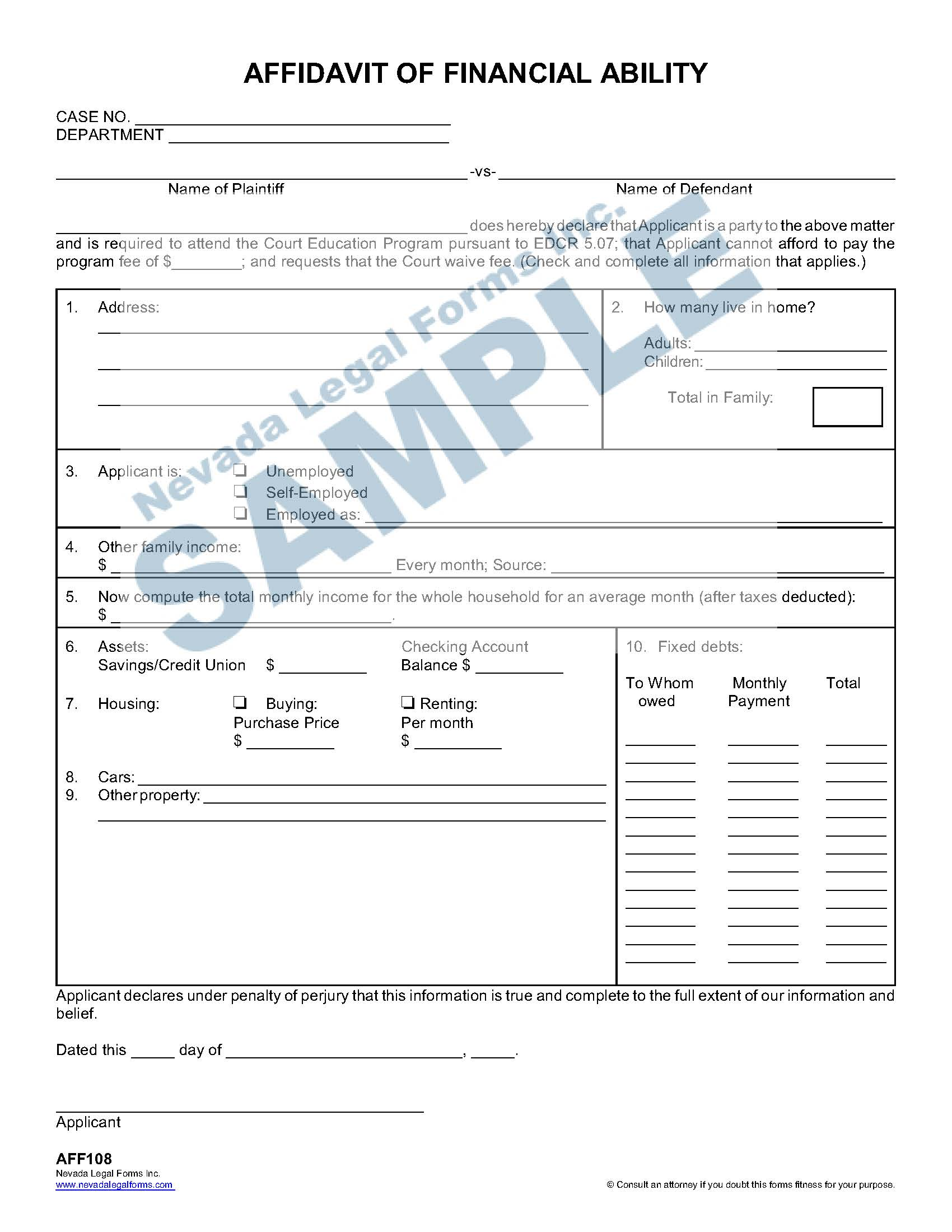 Affidavit Of Financial Ability