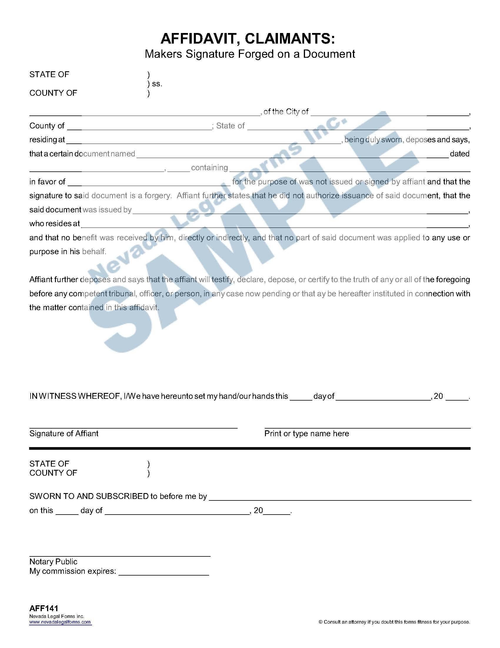 Affidavit Claimants Makers Signature Forged On A