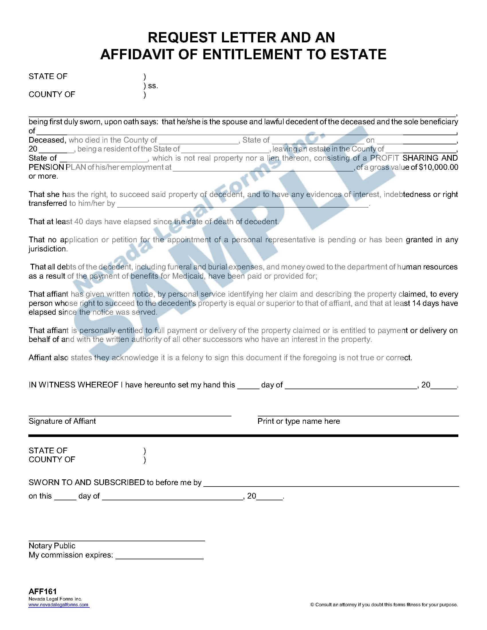 Request Letter And An Affidavit Of Entitlement To Estate