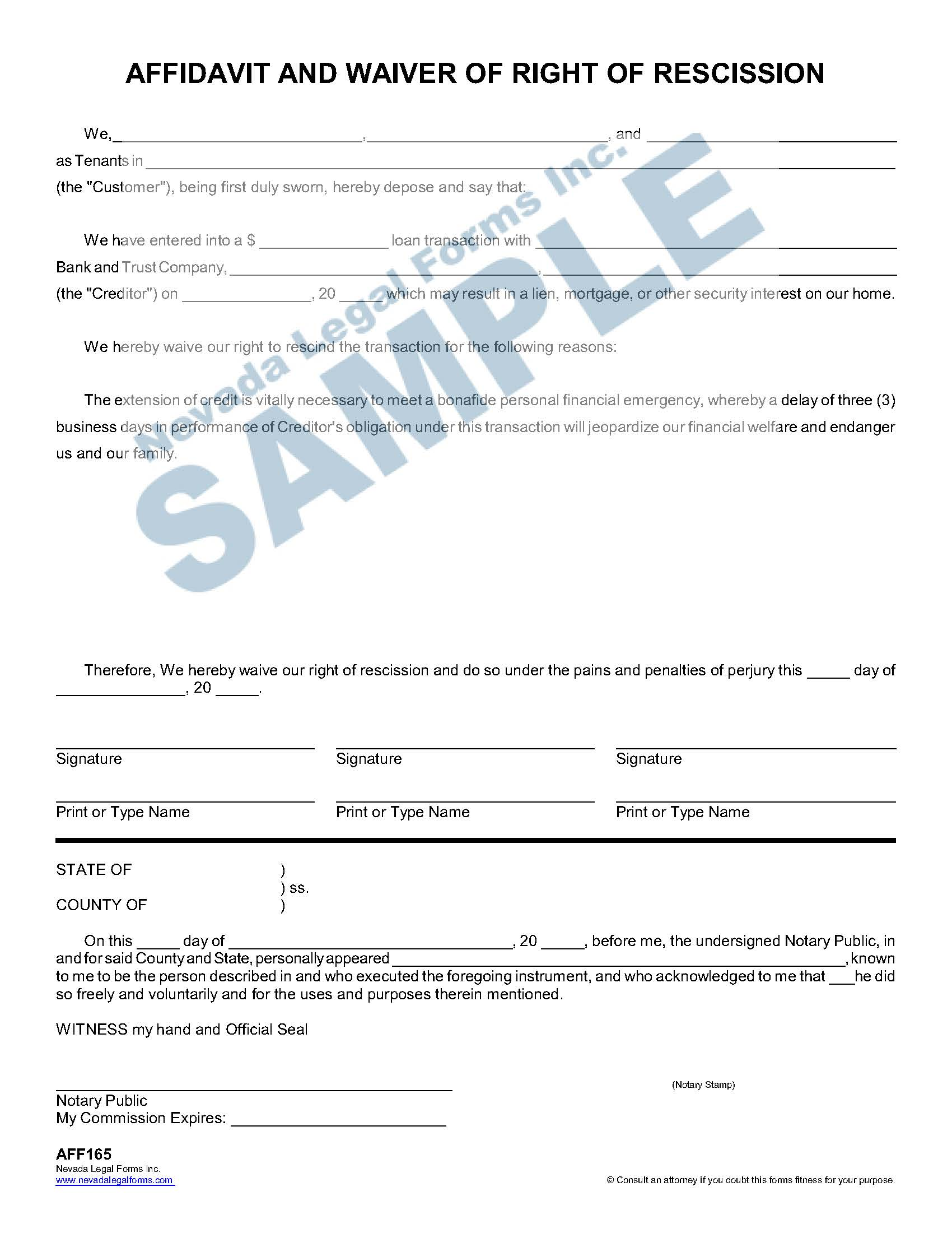 Affidavit And Waiver Of Right Of Rescission