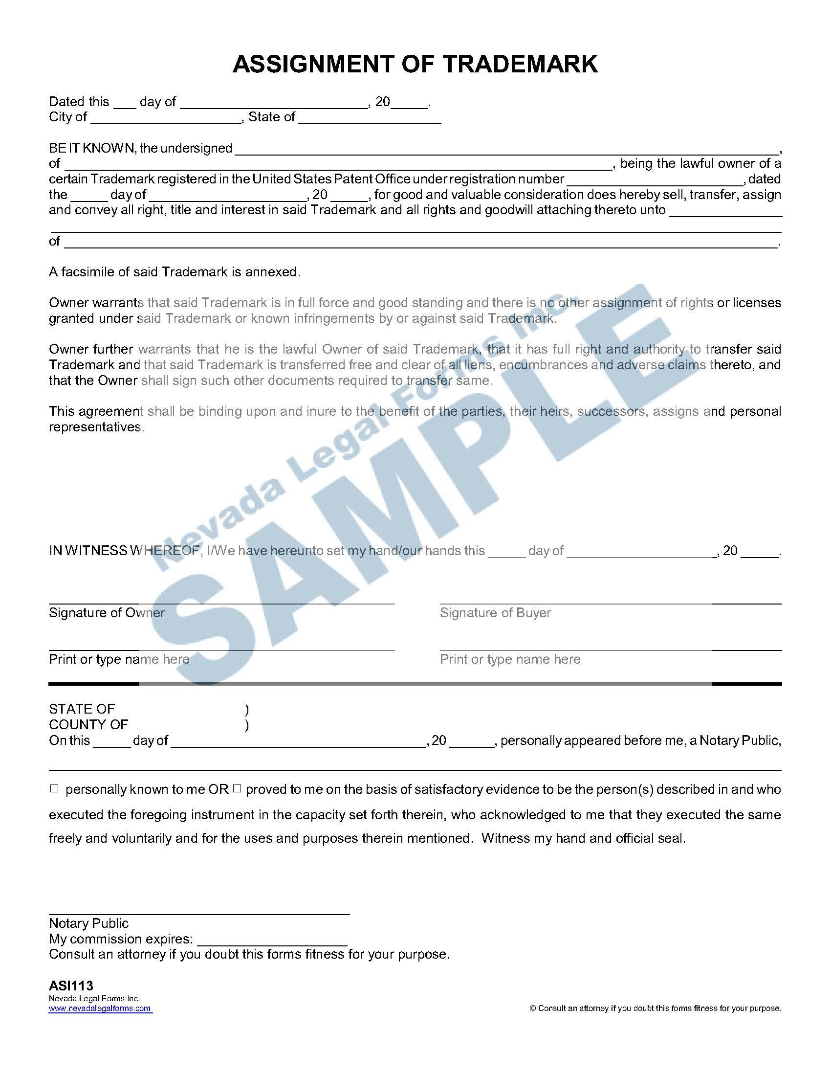 Assignment Of Trademark