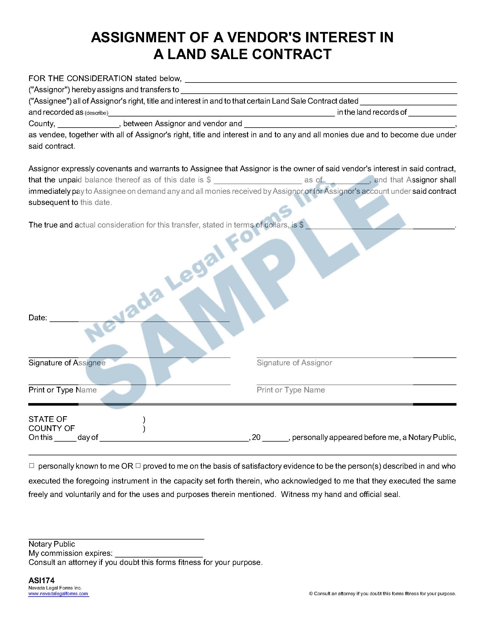 Assignment Of A Vendor S Interest In A Land Sale
