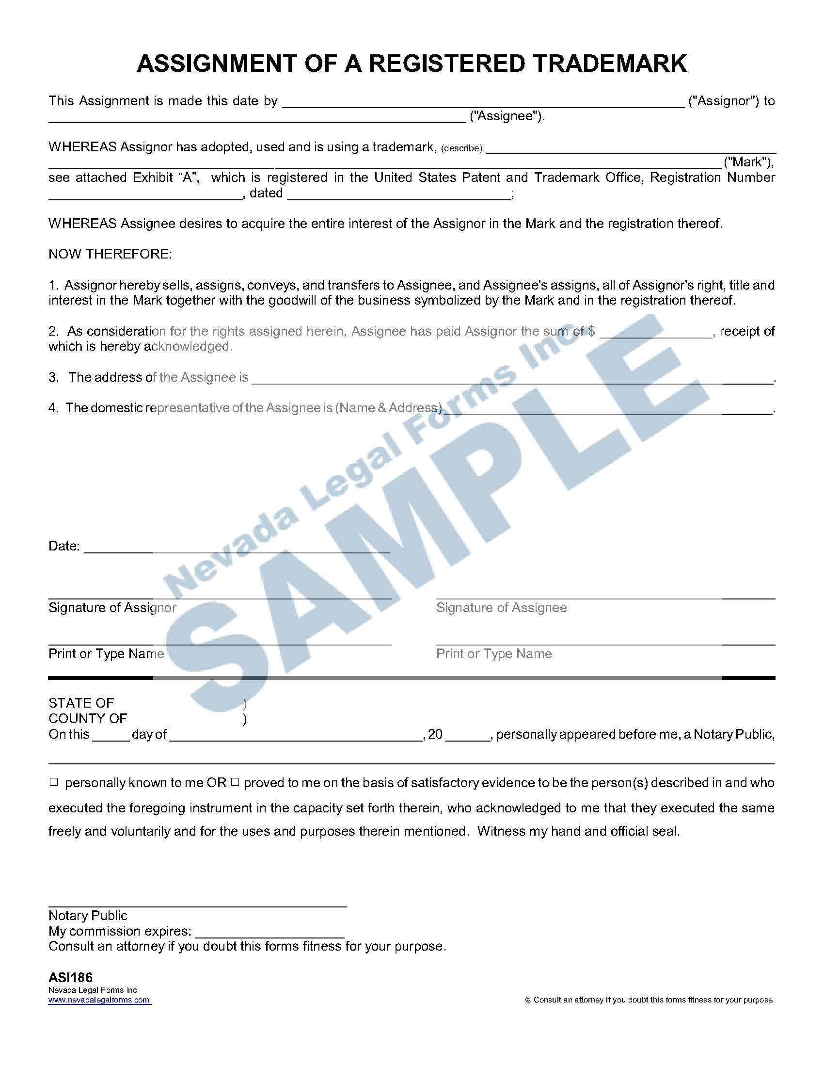Assignment Of A Registered Trademark