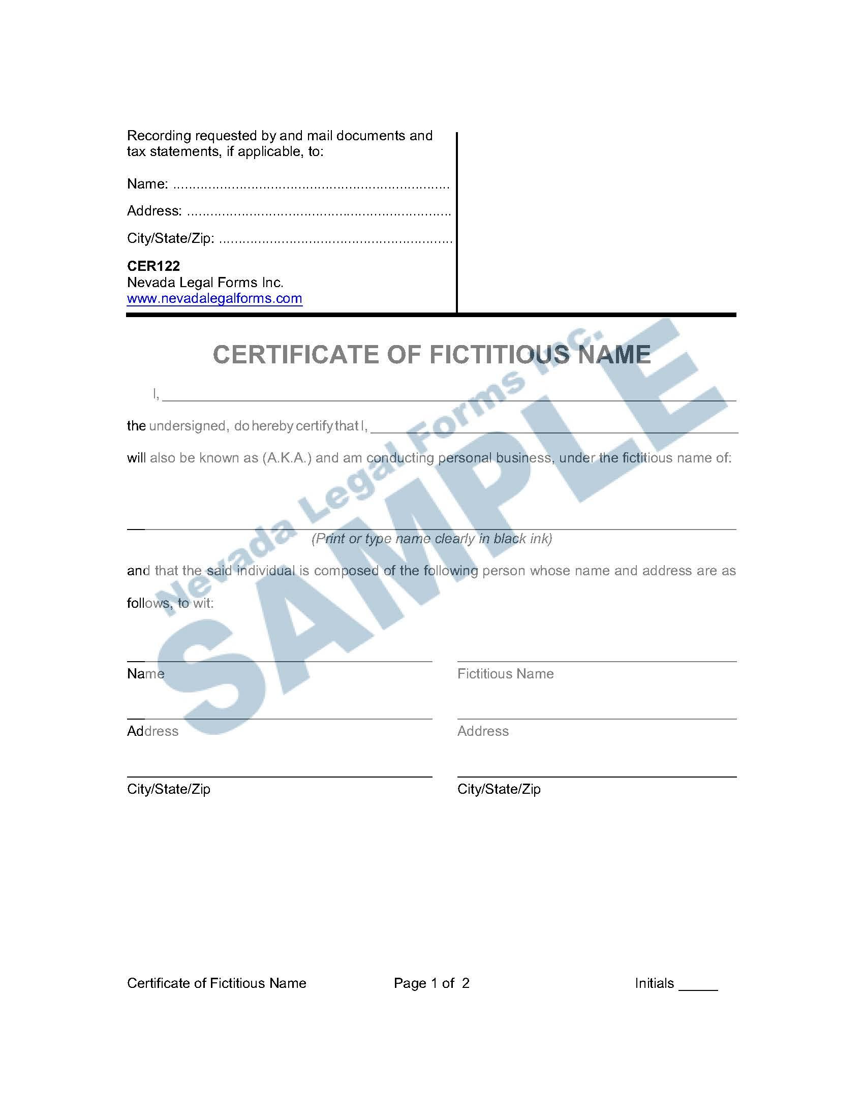 Nevada Certificate Worksheet Tutore