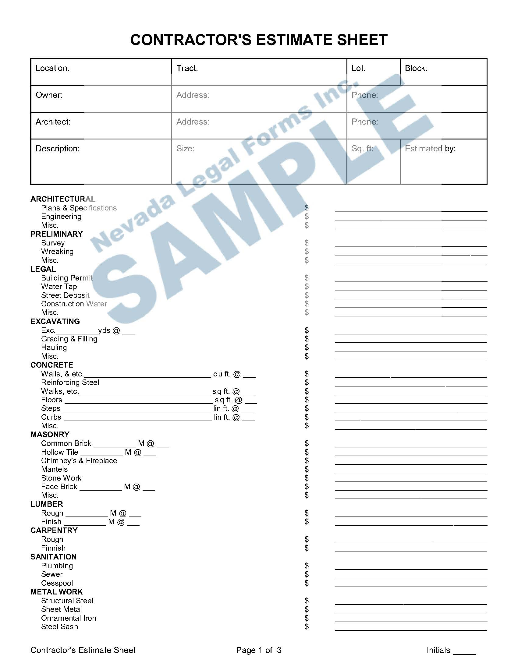 Contractor S Estimate Sheet