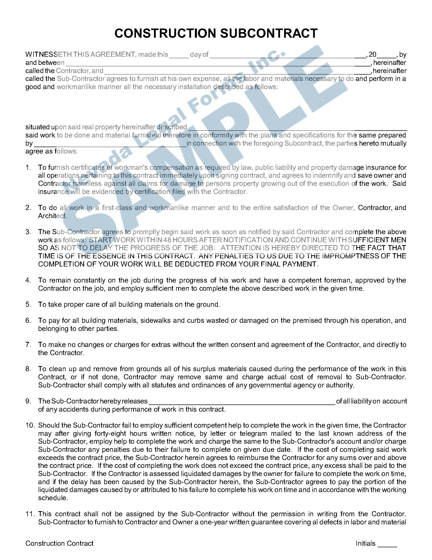 Construction Subcontract