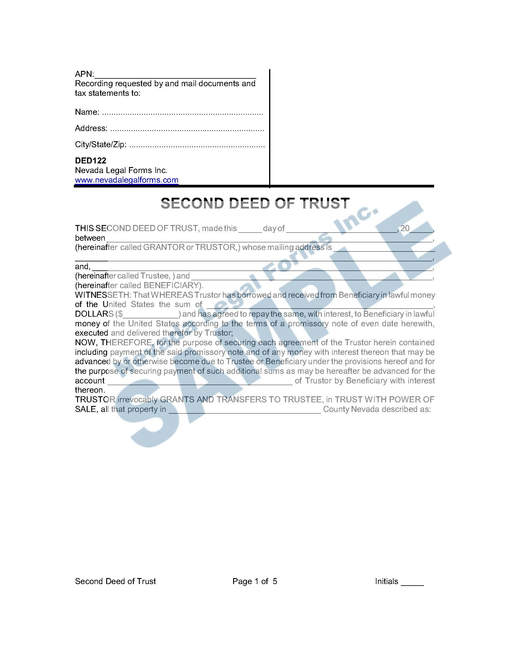 Second Deed Of Trust