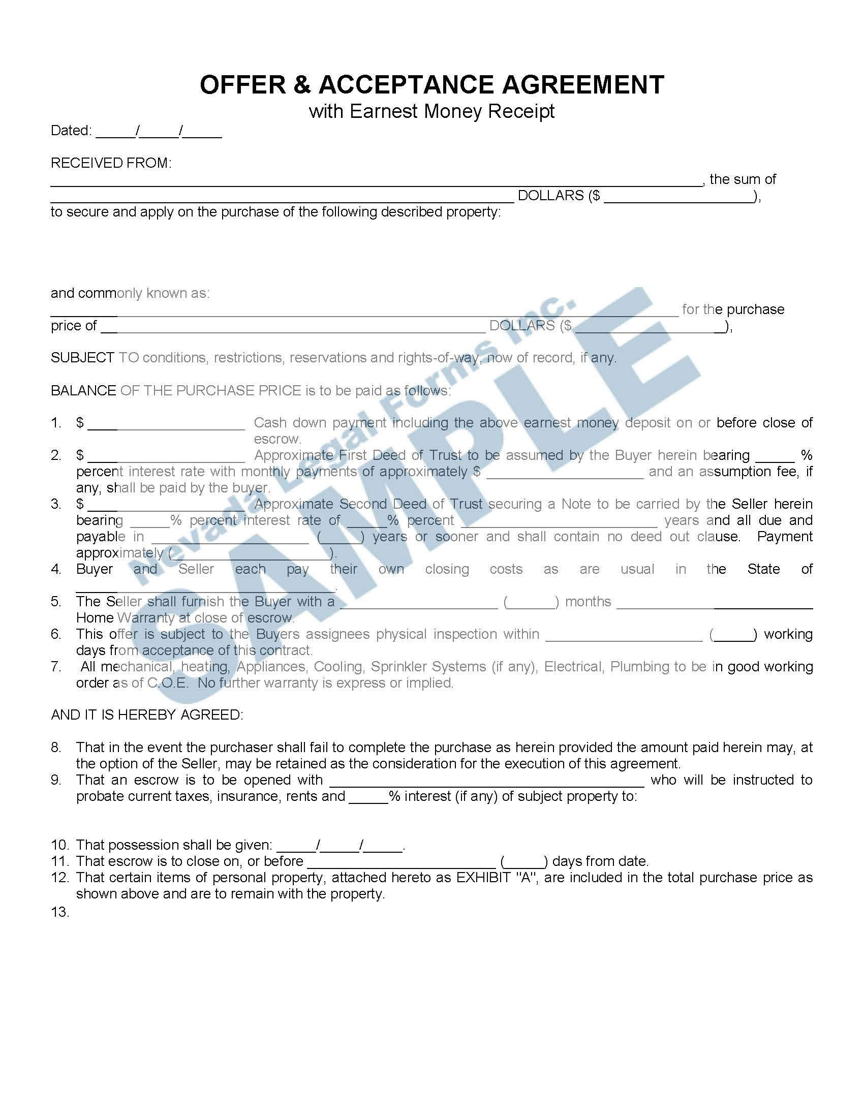 Offer Amp Acceptance Agreement With Earnest Money Receipt