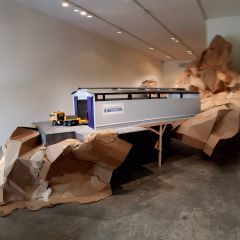 Guggenheim Globetrotters Convoy leaves Peggy's Grotto // Wood, acrylic paint and cardboard // Dimensions variable // 2011