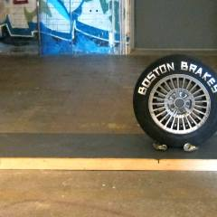 Another B-thing // Wood, Acrylic, Aluminium Tape, Alloy Wheel, Tire, Beer Cans // 2 x 0.7 x 0.6 // 2013