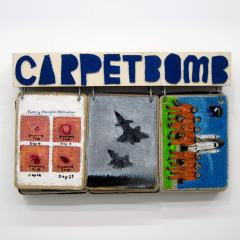 Carpet Bomb: A-Z Google Images 16:00hr 16 September 2010 // Acrylic on Carpet, Wood, Steel Bracket, Brass Eyelets // 55 x 100 x 25 cm // 2014