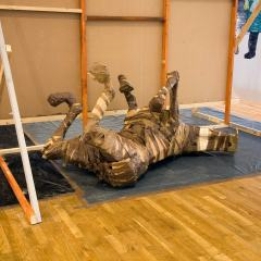 Armature for a Flayed Horse // Wood, Cardboard, Packing Tape // 2 x 1 1.5 m //2009