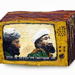 CH.22: The Power of Prayer (2 men watching the Telly) //Oil on MDF // 41 x 44cm // 2002