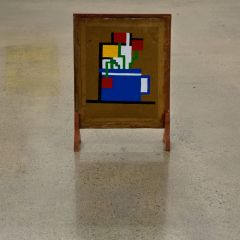 There is a Fire, that Burns in Peat Mondrian's Belly // Acrylic on Card, Firescreen // 62 x 43 x 15 cm // 2008