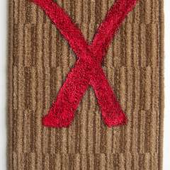 X // Acrylic on Carpet, Brass Eyelets // 40 x 30 cm // 2014