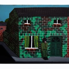 Sneaky Smoke Outside a Safe House // Stephen McKenna, b. 1939 // Acrylic on Canvas // 50x40cm // 2015