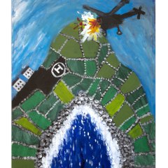 Good Faith in the Good Friday Agreement. The RAF Helicopter that sacrificially crashed into the Mull of Kintyre, killing 26 of the Top ranking Counter Insurgency officers of the British Army in Northern Ireland, because the Beacon used for navigation was placed in the wrong place // James Dixon, 1887-1970 // Acrylic on Canvas // 30x40cm // 2015