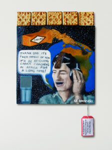 Charity Starts @ Home Sang the Tax Free Super Star Artist with a Strap-On Mars Bar //Oil on Canvas, Varnished Cream Crackers, Label// 46 x 36 cm // 2003
