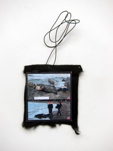 Ai Weiwei Fakes a Fake (Meditated Media Medals) // Laminated Digital Print, Felt, Eyelet, Glue, Wire // 10 x 12 cm // 2016