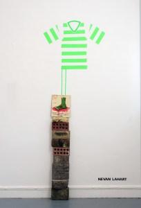 D'Buoys in the Hoodies // Oil on Board, Gaffer Tape, Bricks // 230 x 40 x 15 cm // 2006