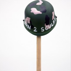 Art Fatigues // Brush, Carpet Mat, Toy Soldiers Helmet, Plastic Bottle, Glue, Wood, Screws, Acrylic Paint // 130 x 45 x 30 cm // 2016