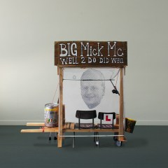 Utilitarian Sculpture to Keep Me off the Streets // Wood, Screws, Wheels, Fridge, Cardboard, Foam, Packaging Tape, Bin, Polyurethane, Stickers, Chairs, Paint, Metal, Cord, Fluffy Dice // 300 x 230 x 70 cm // 2005