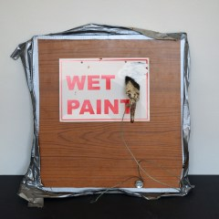 Eye Gouger // Laminated Chipboard, Printed Sign, Wire, Tape, Paint Brush // 45 x 45 cm // 2005