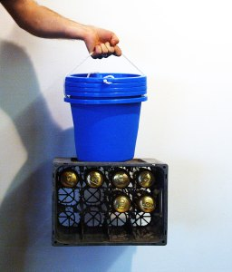 Donald Judd & Sons Mini Bush Bar // Beer Crate, Plastic Buckets, Tie Wraps, Cans of Dutch Gold // 55 x 50 x 40 cm // 2006