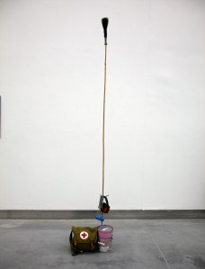 Paint Wave Transmitter // Paint Tin, Tie Wraps, Wire, Bamboo, Tape, Emergency Field Bag, Ear Mufflers, Paint Roller, Paint Brush // 220 x 30 x 30 cm // 2016