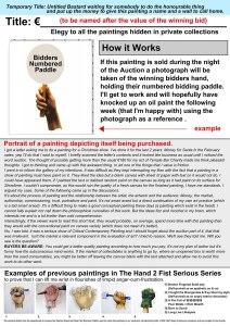 Temporary Title: Untitled Bastard ….etc. // Sealed Unpainted Canvas, Text & Digital Print // 40 x 40 cm // 2005