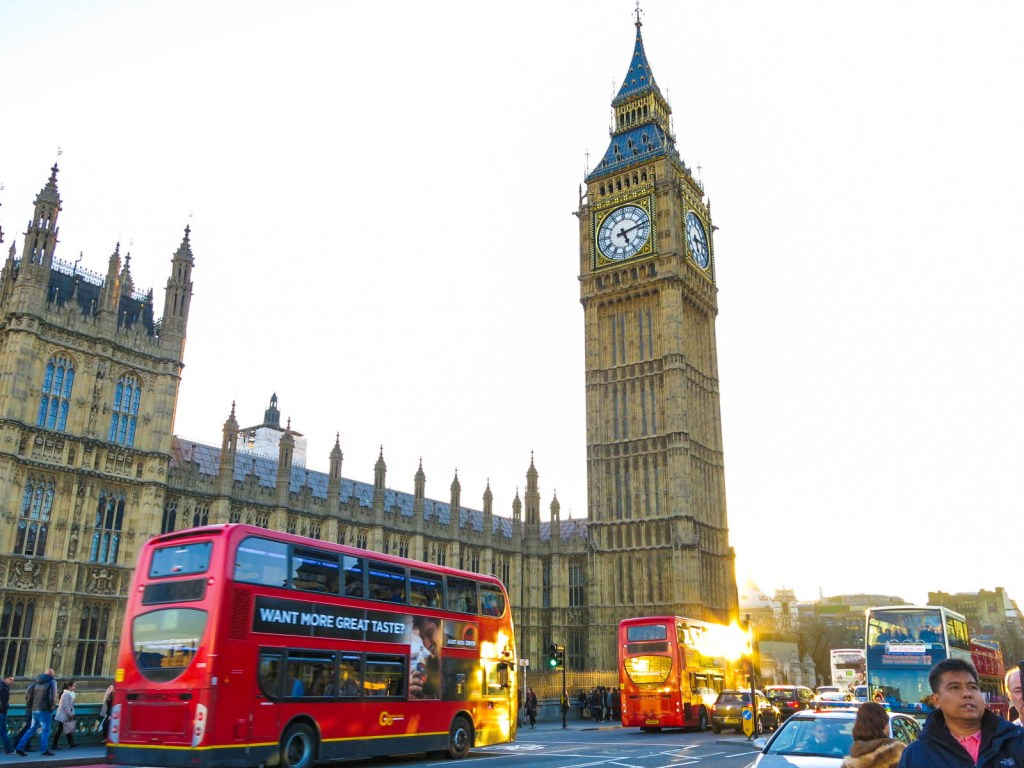 Never Ending Honeymoon | Big Ben and a red bus, London