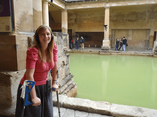 Never Ending Honeymoon | Jacqui Travels with crutches and visiting the Roman Baths, Bath, UK