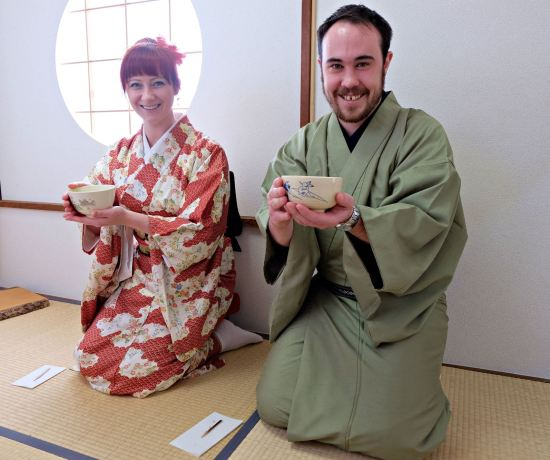 Jacqui and Dan in tea ceremony