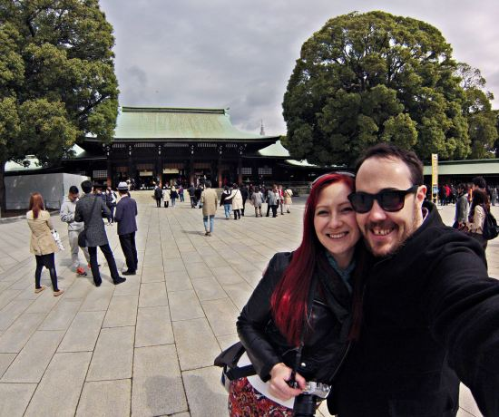 Meiji-jingu shine Jacqui and Dan