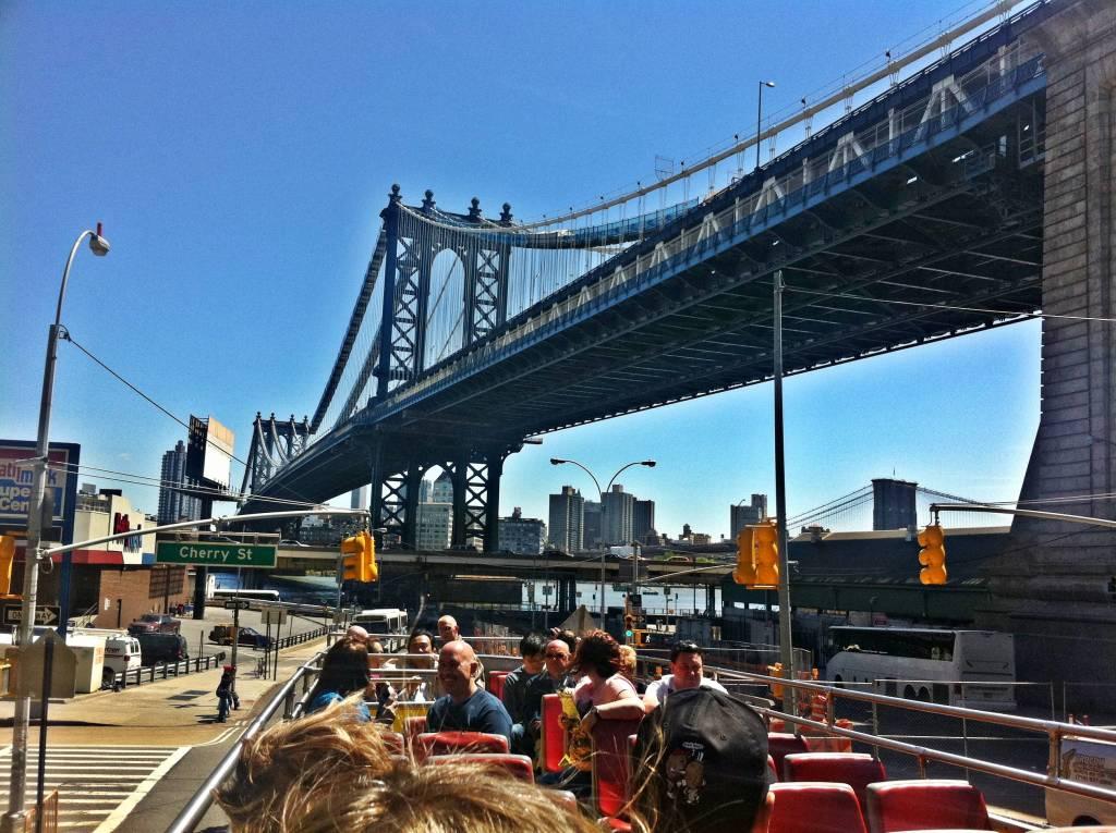 New York City bridge and bus